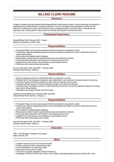 sample billing clerk resume