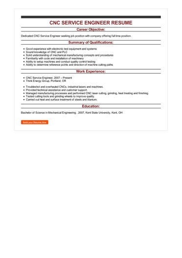 cnc machine and service engineer professional experience - Cnc Service Engineer Sample Resume