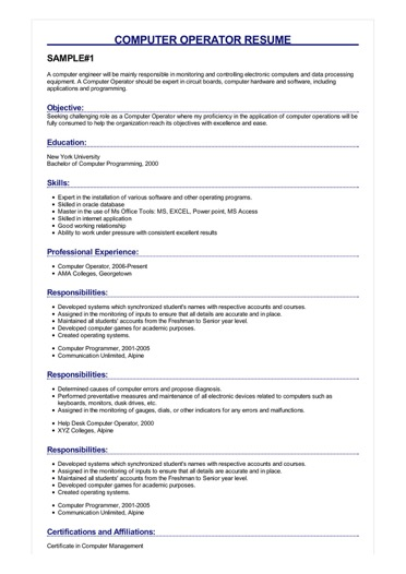 Sample Computer Operator Resume