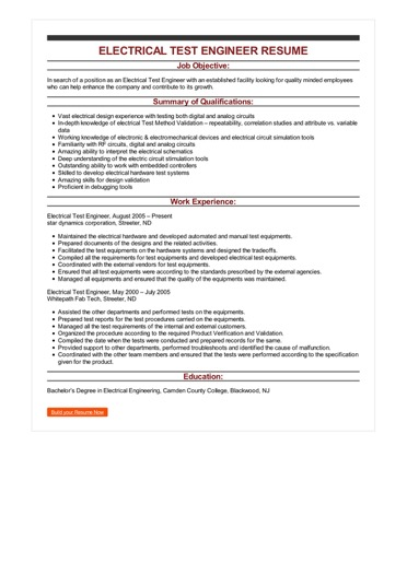 Sample Electrical Test Engineer Resume