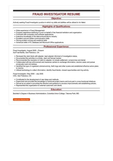 sample fraud investigator resume  u2022 resumebaking