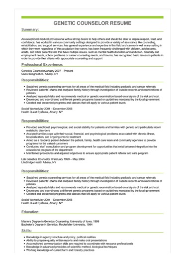 sample genetic counselor resume