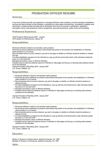 Sample Probation Officer Resume