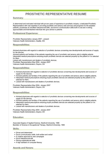 sample prosthetic representative resume