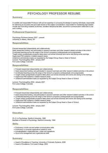 Sample Psychology Professor Resume
