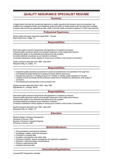 sample quality assurance specialist resume