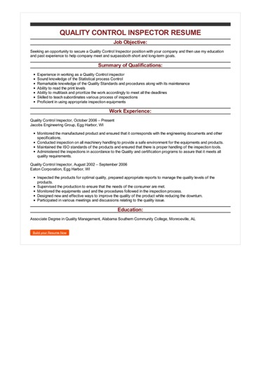 Sample Quality Control Inspector Resume
