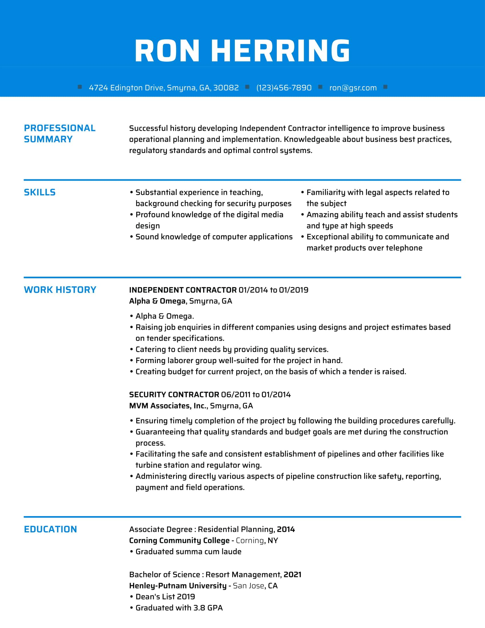 Creative Fresh Blue Resume Template
