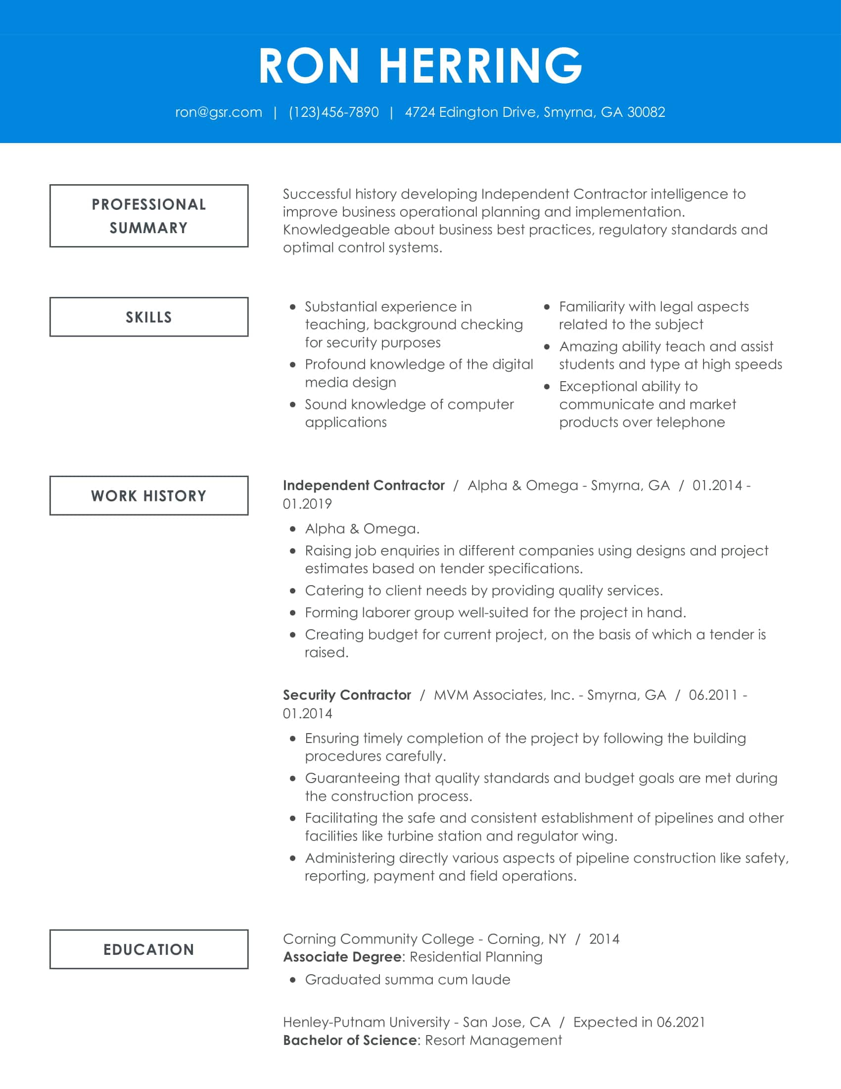 Creative Remarkable Blue Resume Template