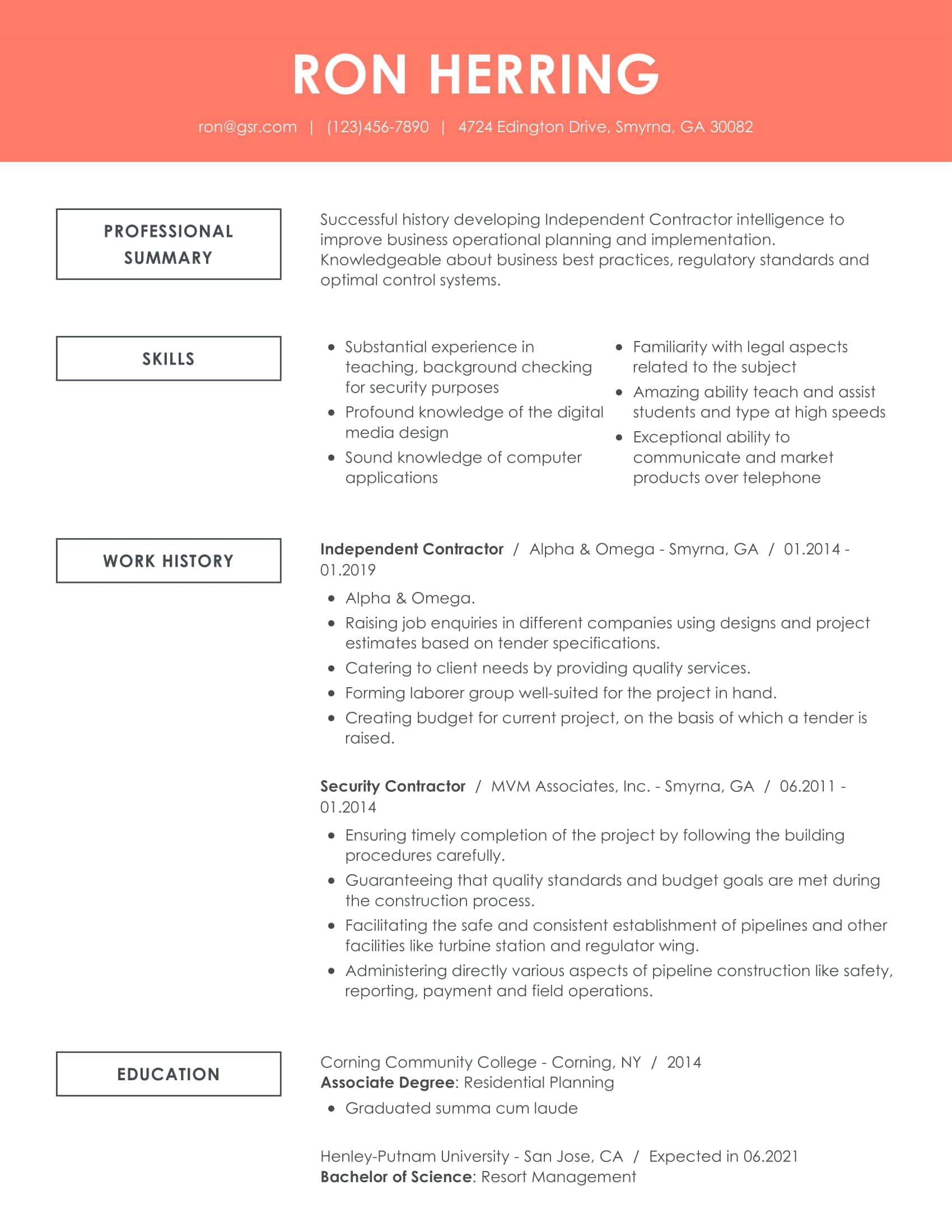 Creative Remarkable Peach Resume Template