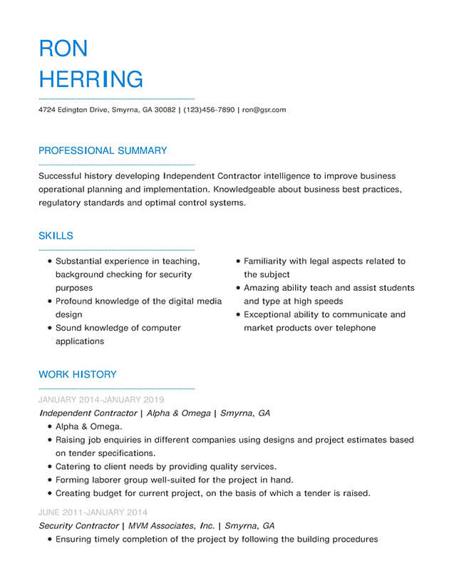 Modern Blueprint Blue Resume Template