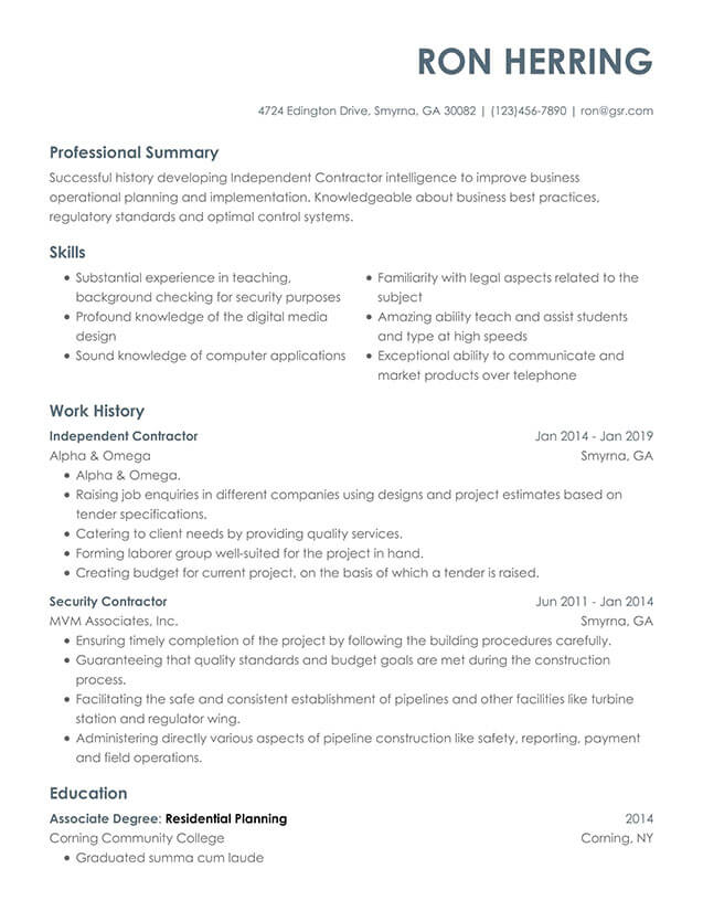 Modern Contempo Gray Resume Template