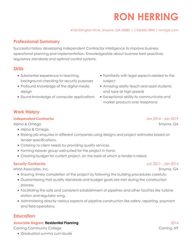 Modern Contempo Peach Resume Template