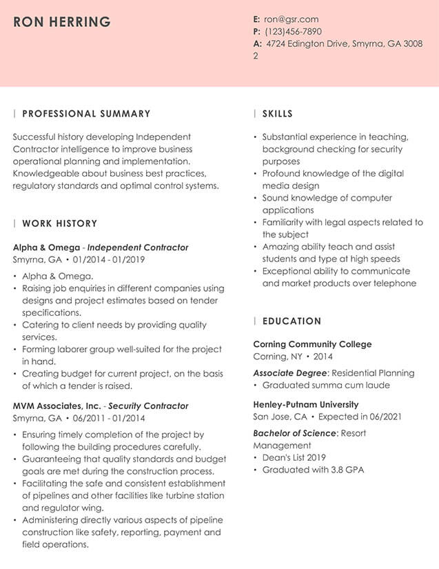 Modern Essence Peach Resume Template