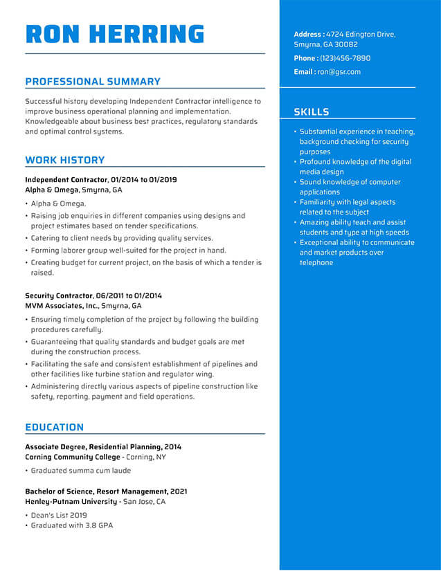 Modern Impactful Blue Resume Template