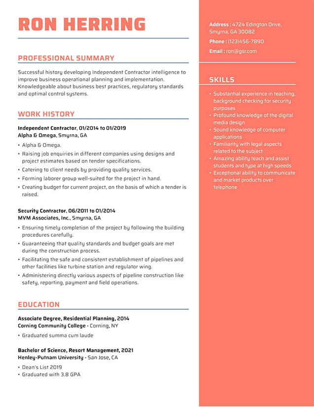 Modern Impactful Peach Resume Template