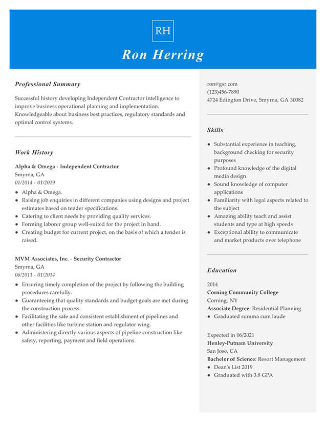 Modern Managerial Blue Resume Template