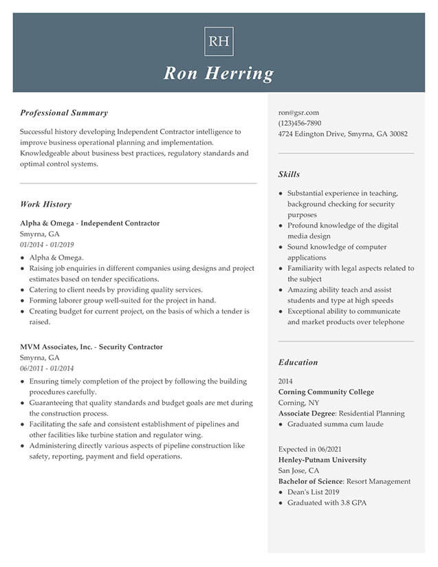 Modern Managerial Gray Resume Template