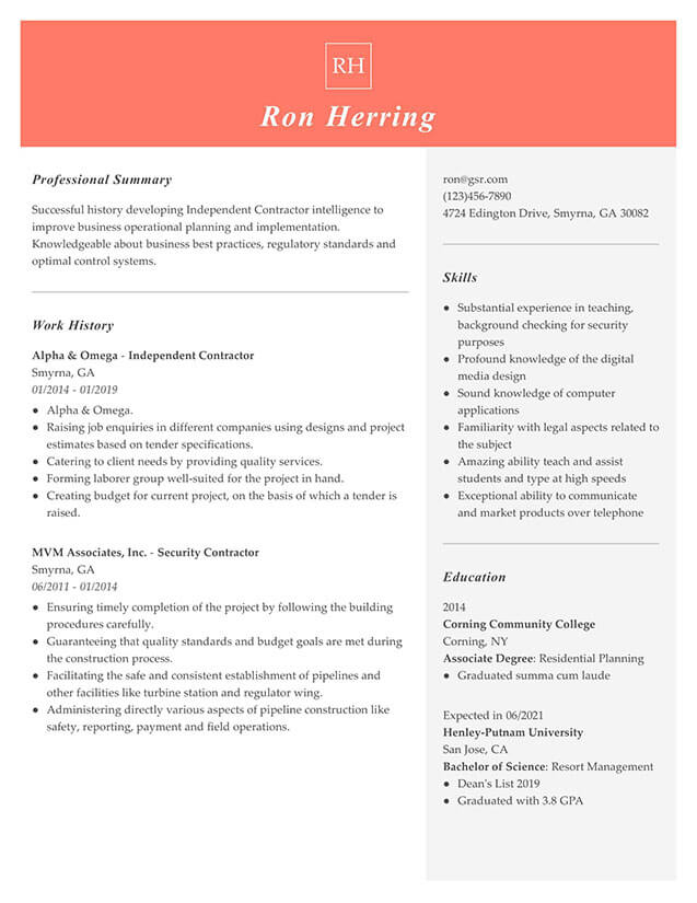 Modern Managerial Peach Resume Template