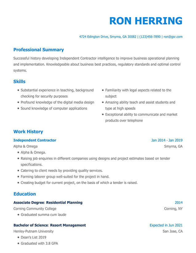 Modern Blue Resume Template
