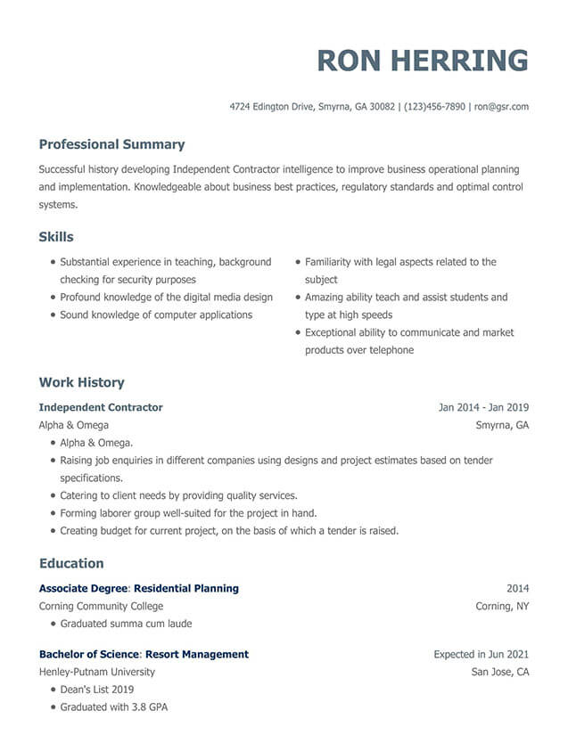Modern Gray Resume Template