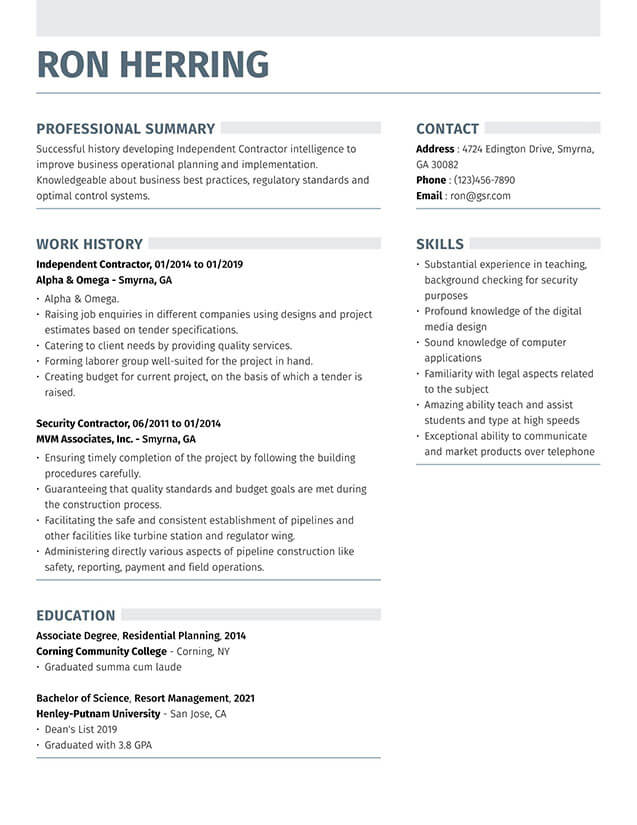 Modern Strong Gray Resume Template