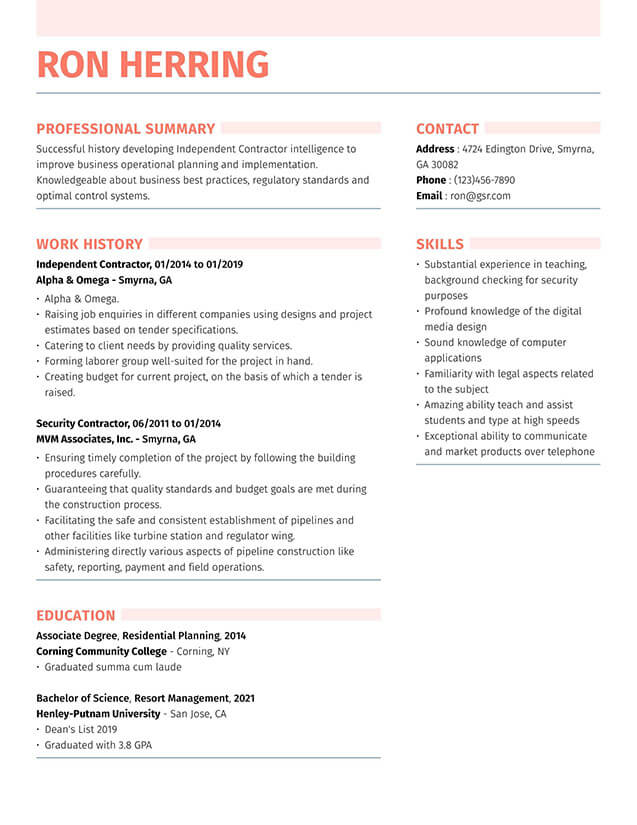 Modern Strong Peach Resume Template
