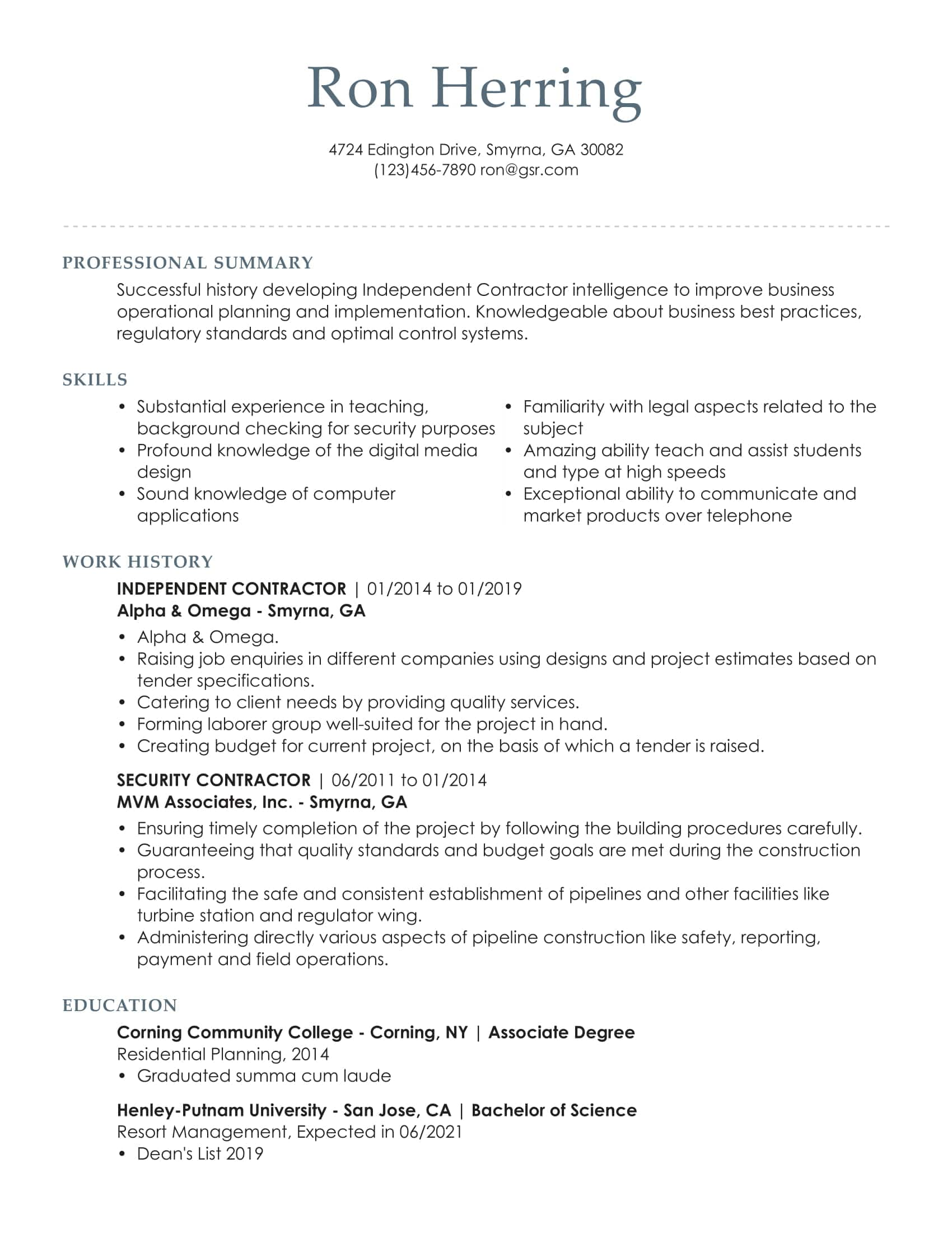 Professional Distinguished Grey Resume Template