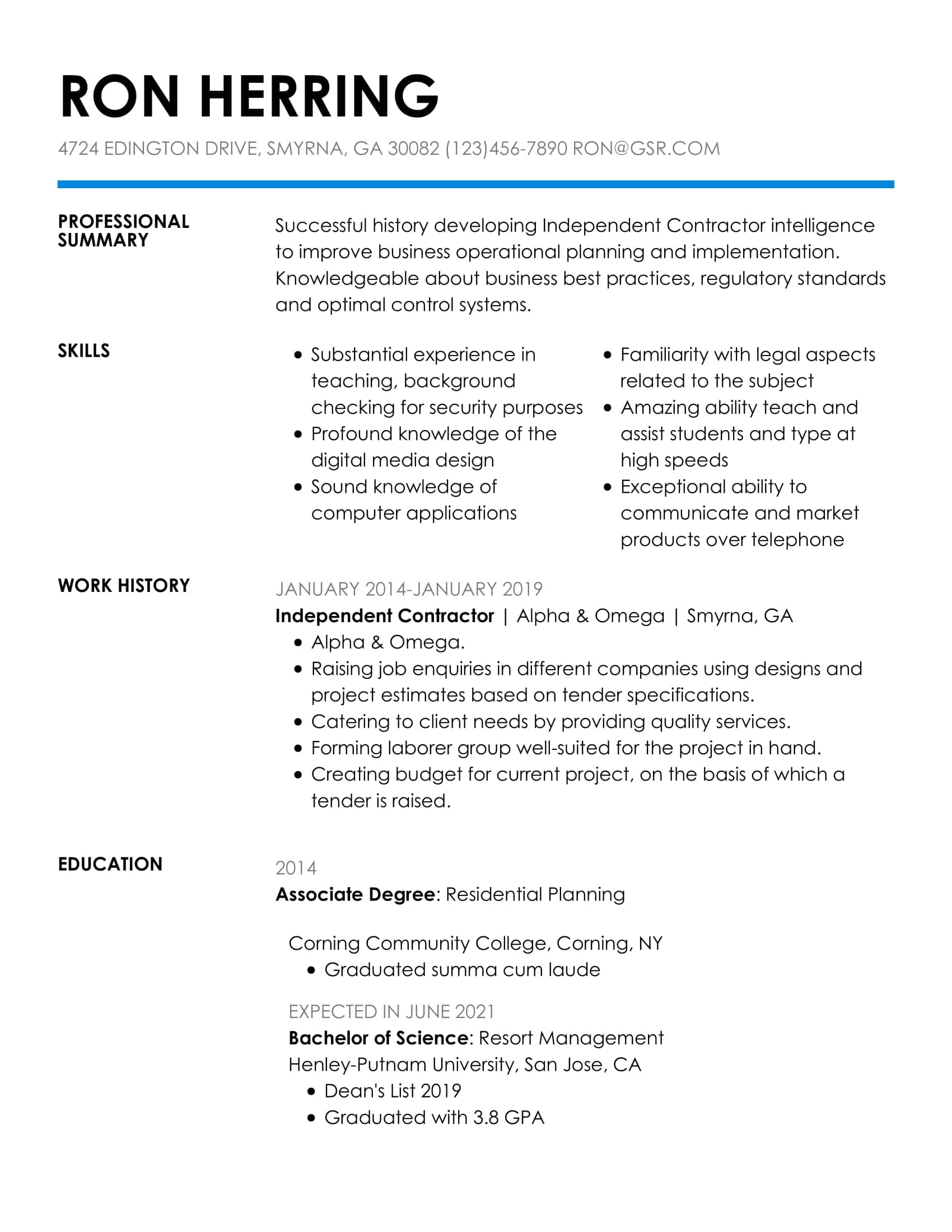 Simple Insightful Blue Resume Template