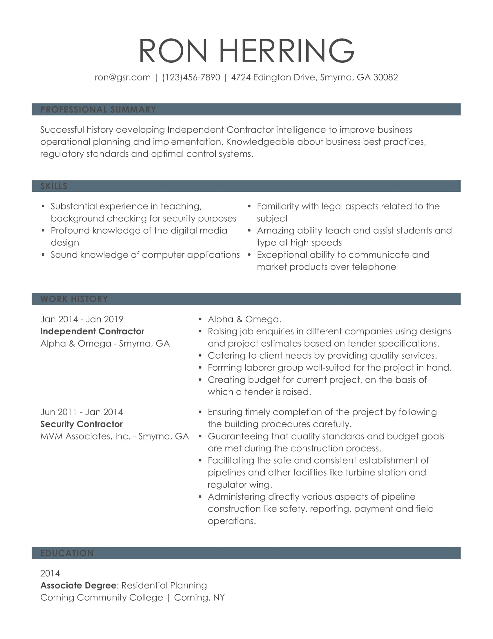 Simple Knowledgeable Gray Resume Template