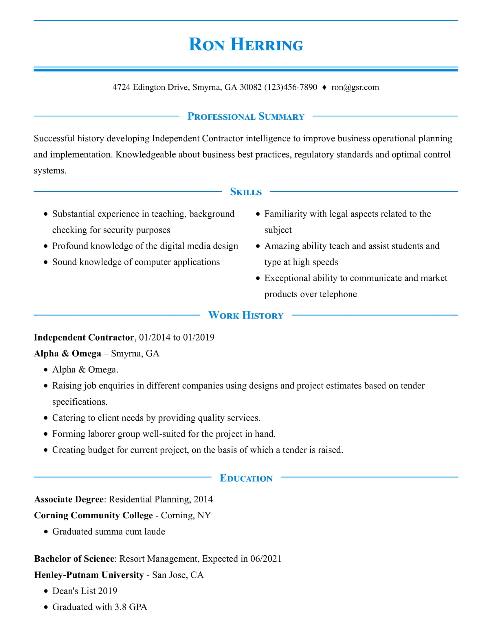 Simple Pinstripe Blue Resume Template