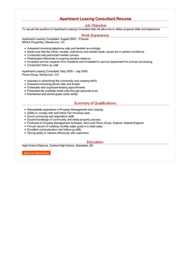 Apartment Leasing Consultant Resume