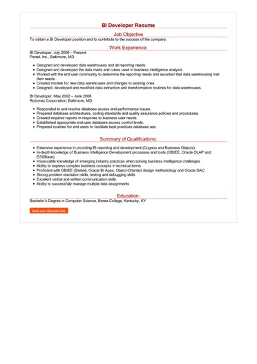 bi developer resume