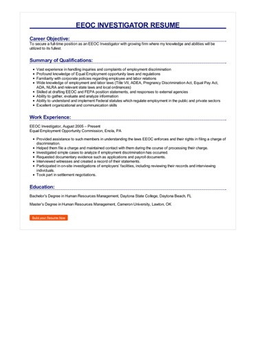 EEOC Investigator Resume | Great Sample Resume
