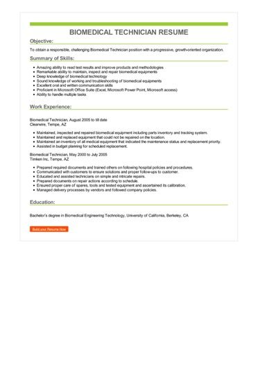 biomedical technician resume sample  u2013 best format