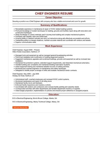 Sample Chief Engineer Resume