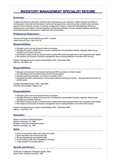 Sample Inventory Management Specialist Resume